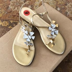 Kate Spade Gold Sandals with Gems retails for $260